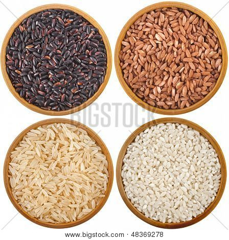 collection of rice  variety in bowl top view surface close up isolated on white background