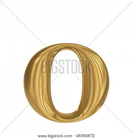 Golden letter o. Gold solid alphabet, high quality 3d render