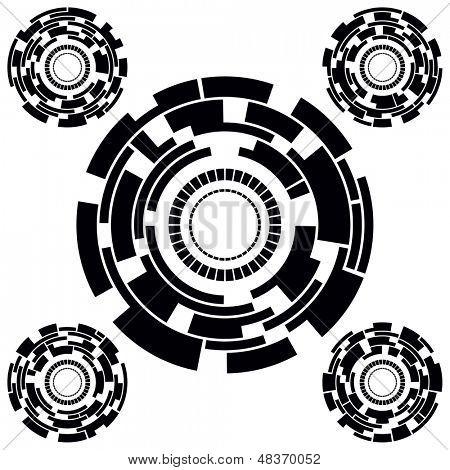 Set of Five Black and White Futuristic Circle Charts. Rasterized version