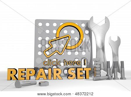3D Render Of A Mechanical Click Here Pictogram Repair Set