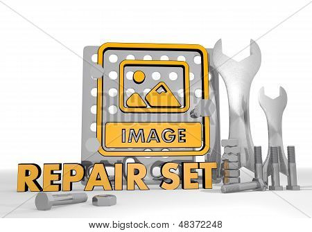3D Render Of A Mechanical Image Icon Repair Set