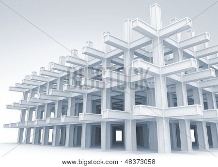 3D Abstract Architecture Light Blue Monochrome Background. Modern White Braced Construction