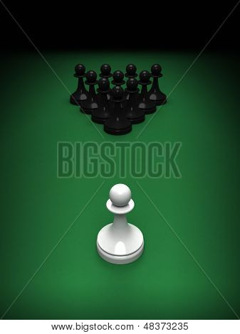 One White Pawn Opposite Blacks On The Green Pool Table