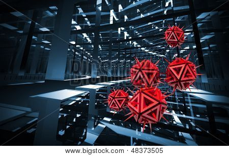 Computer Virus Illustration With Red Sharp Objects In The Dark Blue Digital Tunnel. 3D Render Backgr