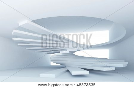 Blue Abstract Architecture Interior With Spiral Stairs Installation