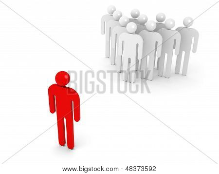 Group Of Schematic People And One Opposite Red Person On White Background With Soft Shadow. 3D Illus
