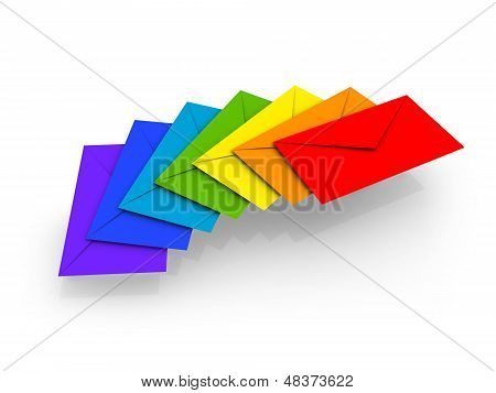 Colorful Envelopes On White Background As A Metaphor Of Happy Chain Letters