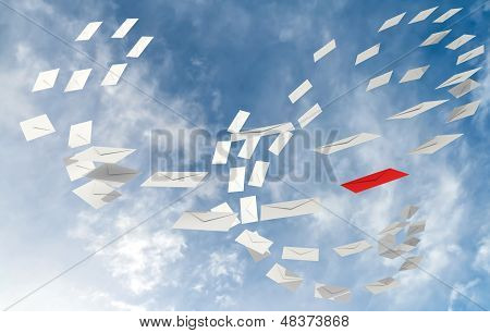 Illustration Of Correspondence E-mail Concept With White Envelopes Stream And One Red