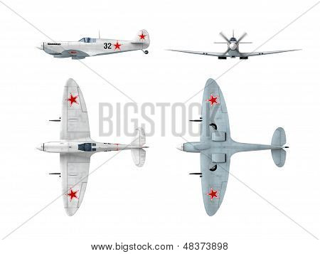 Soviet Winter Painting Version Of English Spitfire Supermarine Wwii Fighter. Drawings From 3D Model