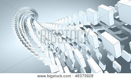 3D Abstract Background Illustration With Spatial Helix Made Of Boxes