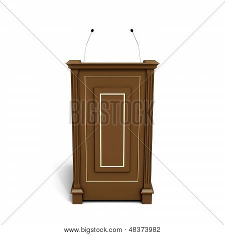 Wooden Podium Isolated On White With Soft Shadow