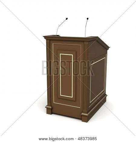 Wooden Podium, Half-turn Isolated On White