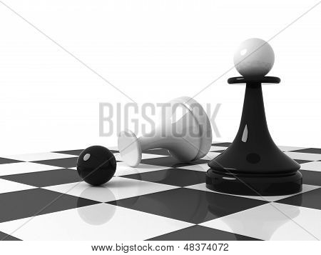 Chess Pieces On The Chessboard: Black Pawn With Replaced Head From Recumbent White Pawn. 3D Render I