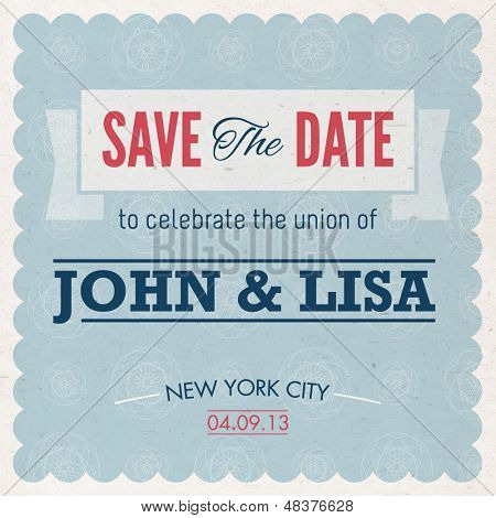Vintage Type Save the Date Invitation Card