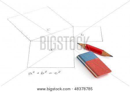 The pythagorean theorem with pensil and eraser