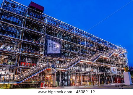 PARIS, FRANCE - JULY 1: Beaubourg area with the Georges Pompidou Center Museum  at night at the city of Paris in France on july 1st, 2005
