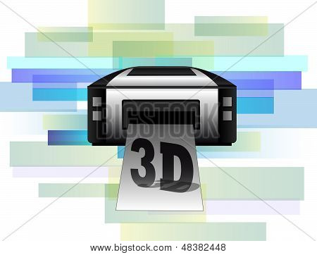 Illustration Of Printer Making 3D Products