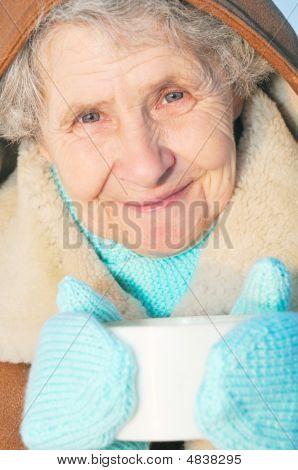 Elderly Woman With Mug