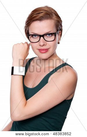 Girl With An Internet Smart Watch Isolated On White