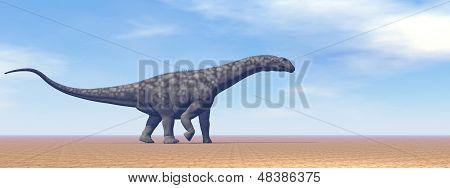 Argentinosaurus dinosaur in the desert - 3D render