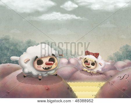 Two Loving Sheep