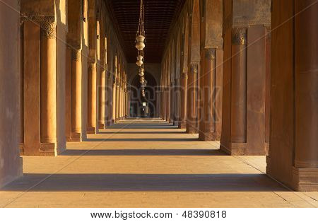 The stone pillar colonnade in Sultan ibn Tulun mosque in old Cairo, Egypt