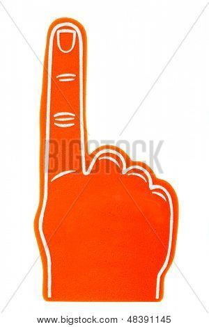 An orange foam fan finger on a white background