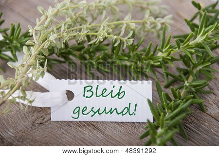 Label With Bleib Gesund
