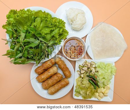 Vietnamese Food Pork Sausage With Vegetable (nam Nuang)