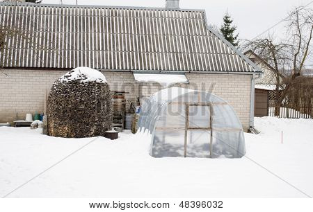 Stack Firewood Polythene Greenhouse Snow Winter