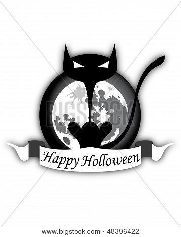 Halloween Black Cat And Moon