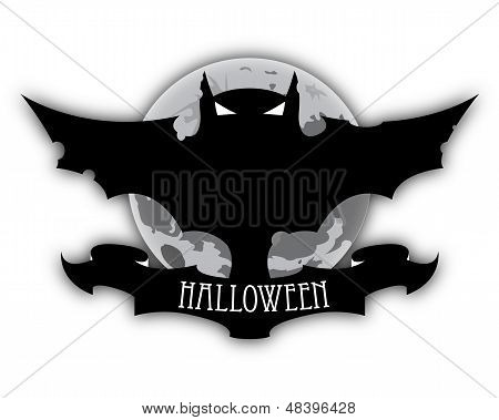 Halloween Dark Bat And Moon
