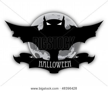 Lua e escuro morcego Halloween