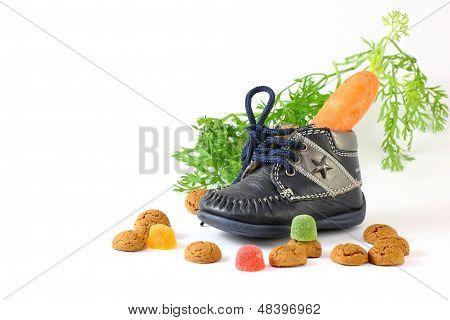 Childrens Shoe With Carrot Voor Sinterklaas And Pepernoten