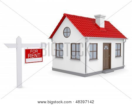 Small house and for rent sign