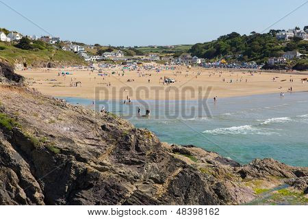 Crowds enjoy the July heatwave in Polzeath Cornwall