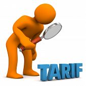 picture of tariff  - Orange cartoon character with loupe and blue german text  - JPG