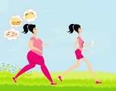 picture of skinny girl  - Young woman joggingfat girl dreams of unhealthy eating skinny girl drinks mineral water  - JPG