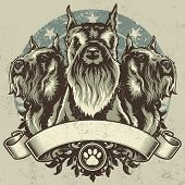 picture of schnauzer  - Schnauzer Terrier Crest Design - JPG