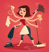 image of housekeeping  - Woman washing and cleaning - JPG