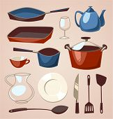 Tableware set. Household series vector illustration.