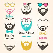 stock photo of beard  - Set of mustache and beards - JPG