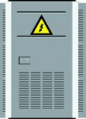 stock photo of transformer  - Door transformer station with a warning symbol - JPG