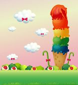 foto of hilltop  - Illustration of a giant ice cream at the hilltop - JPG