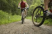 stock photo of riding-crop  - Low angle view of two male cyclists on countryside track - JPG