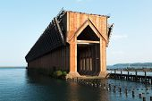 picture of iron ore  - old iron ore dock in Marquette harbor - JPG