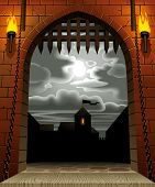 Vector image of the medieval castle gate with a drawbridge and torches against the night sky with th