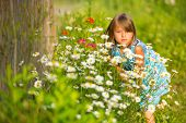 Charming little girl among yellow wildflowers