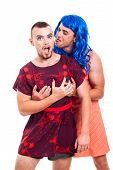 stock photo of transvestite  - Portrait of two funny transvestites having fun isolated on white background - JPG