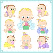 image of creeping  - vector illustration of baby boys and baby girls with white background - JPG